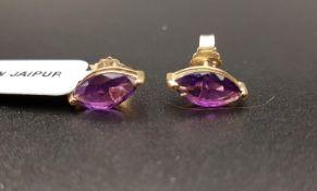 PAIR OF CERTIFIED AMETHYST STUD EARRINGS the marquise amethyst on each in nine carat gold setting,