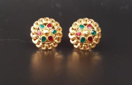 PAIR OF ENAMEL DECORATED TWENTY-TWO CARAT GOLD EARRINGS the stud earrings with alternating red and