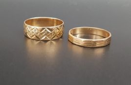 TWO NINE CARAT GOLD RINGS both with engraved decoration and both ring size P, total weight