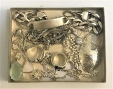 SELECTION OF SILVER JEWELLERY including a heavy identity bracelet, a stone set pendant on chain, a