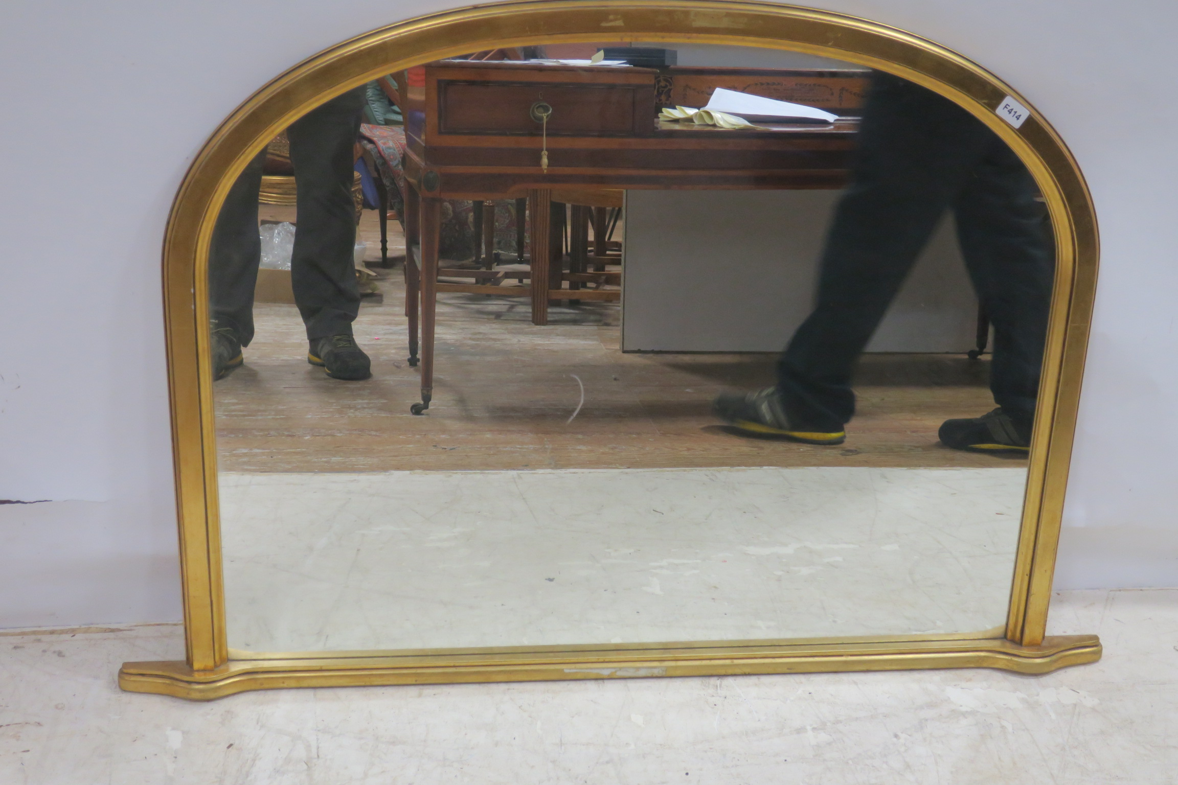 Lot 2 - A VICTORIAN DESIGNED GILTWOOD OVERMANTLE MIRROR the rectangular arch plate within a moulded frame