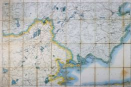 1899 Ordnance Survey, Counties Clare and Galway, original colour, sectioned and linen backed,