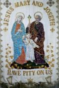 A 19th century processional banner venerating the Holy Family.