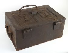 A Victorian steel revenue or military paymaster's strong box.