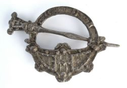 "Early 20th Century Celtic Revival Tara Brooch, silver plated, 4"" (10cm)."