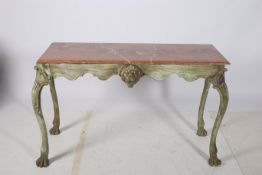 A CONTINENTAL POLYCHROME AND MARBLE CONSOLE TABLE of rectangular outline surmounted by a rouge