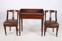 A 19TH CENTURY MAHOGANY SIDE TABLE of rectangular outline with moulded three quarter gallery and