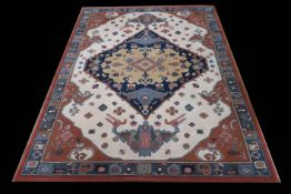 A BEIGE AND RUST GROUND PATTERNED RUG the central panel filled with stylized figures flowers and