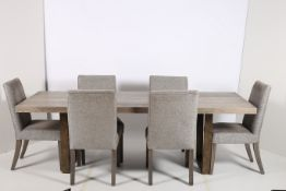 A SEVEN PIECE CONTEMPORARY DINING ROOM SUITE comprising six chairs each with an upholstered back