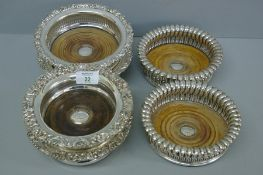 Three pairs of 19thC Sheffield plate and EPNS, decanter coasters
