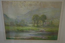 William Hoggatt (1879-1961) British, An autumn morning in Sulby, Pastel and watercolour, Signed,
