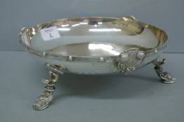 Silver fruit bowl with Norse decoration to border and legs. Birmingham 1953. 22 ozt. Maker A. Bro.