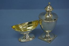 GIII silver mustard pot in the form of an urn on raised square base, London 1797, 5 ozt, makers