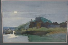Nancy Corkish, Peel Castle in the Moonlight, Watercolour, Signed and dated '06, 15 x 22 ins.