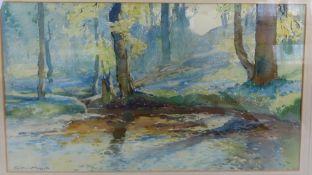 William Hoggatt (RI (1879-1961) British, Spring time Colby Glen, Watercolour, Signed label verso, 15