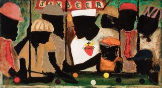 """William Hemmerling (American/Louisiana, 1943-2009) , """"Jesus Likes Pool"""", mixed media on panel,"""