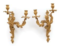 Pair of Louis XV-Style Gilt Bronze Two-Light Sconces , foliate design, electrified, h. 16 in., w. 11