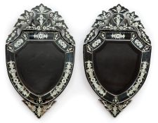 Pair of Venetian Beveled and Engraved Glass Mirrors , shield shaped, segmented surround with foliate