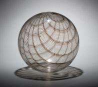 "Lino Tagliapietra (Italian, b. 1934) Glass ""Filligrana Sphere"" , 1995, clear with brown canes in """