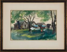 """Mildred Nungester Wolfe (American/Mississippi, 1912-2009) , """"Washday"""", c. 1930s, watercolor on"""