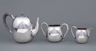 Japanese Sterling Silver Tea Service , K. Uyeda, probably early 20th c., incl. teapot, open sugar