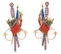 Pair of French Tole Peinte Tricolor Trophee Two-Light Sconces , 20th c., with drum, trumpet, and