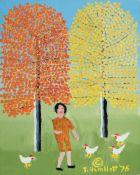"Theora Hamblett (American/Mississippi, 1895-1977) , ""Feeding Chickens"", 1976, oil on canvas board,"