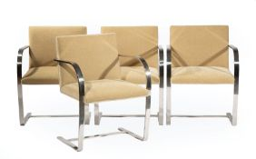 """Four Ludwig Mies van der Rohe (German/American, 1886-1944) Stainless Steel and Upholstery """"Brno"""""""