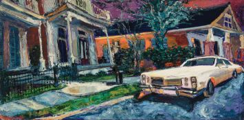 """James Michalopoulos (American/New Orleans, b. 1951) , """"Mid-City Miasma"""", 1997, oil on canvas, signed"""