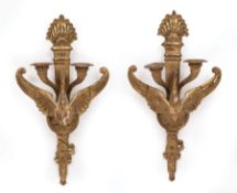 Pair of Napoleon III-Style Carved Giltwood Two-Light Sconces , 19th c., torch-form backplate, spread
