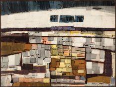 "Joseph Lambert Cain (American/New Orleans, 1904-2003) , ""Land Bands"", 1964, Hyplar copolymer on"