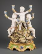 """Italian Faience Figural Six-Light Candelabrum , 19th c., marked Italy and """"AVF"""" or """"AMF"""", modeled as"""
