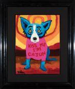 "George Rodrigue (American/Louisiana, 1944-2013) , ""Kiss Me I'm Cajun, Too!"", 1992, oil on linen,"