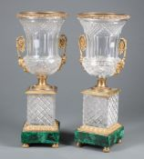 Pair of Neoclassical-Style Gilt Bronze-Mounted Cut Glass and Malachite Campagna Urns , floral scroll