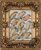 "Hunt Slonem (American/Louisiana, b. 1951) , ""Birds on Wires"", oil on board, unsigned, 12 in. x 9"