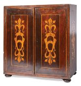 Antique Italian Marquetry Collector's Cabinet , c. 1890, foliate and scroll inlay, interior