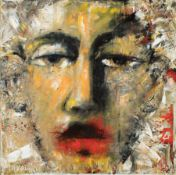 """David Harouni (Iranian/New Orleans, b. 1962) , """"Untitled (Face)"""", 1998, oil on gallery-wrapped"""