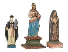 Three Spanish Colonial Carved and Polychrome Wood Figures of Saints , 18th/19th c., tallest h. 16 in