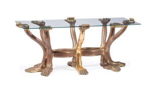 """Rare Pedro Friedeberg (Mexican, b. 1938) Carved and Giltwood """"Hand Foot"""" Coffee Table , c. 1970s,"""