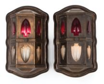 Pair of American Art Deco Bronze Elevator Indicator Sconces , c. 1920, turret-form case, fitted with