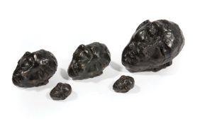 "David Harouni (Iranian/New Orleans, b. 1962) , ""Untitled (Bronze Heads)"", 5 patinated bronzes, all"
