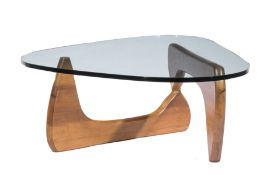 Isamu Noguchi (Japanese/American, 1904-9188) for Herman Miller Walnut and Glass Coffee Table ,