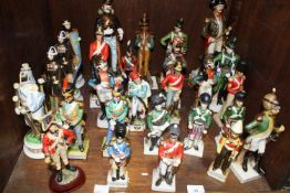 SECTION 40. Twenty seven various ceramic soldiers including french Cavalry Officer, Grenadier de