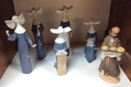 SECTION 19. Five various Lladro porcelain nuns together with a Lladro Monk 'Our Daily Bread no.