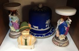 SECTION 11. A Wedgwood Jasperware blue and white stilton dish (af), together with a pair of