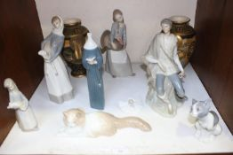 SECTION 15. Six Lladro porcelain figures including girl with turkey, girl with lamb, seated