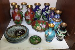 SECTION 20. Three pairs of Oriental cloisonne vases, together with other cloisonne bowls and pin