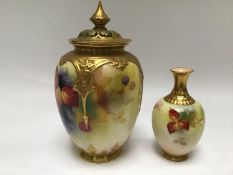 A Royal Worcester potpourri vase, signed and painted by Kitty Blake with a scene of blackberries and