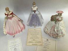 Three assorted Coalport ceramic ladies comprising An Evening at the Opera, 'Sara', limited edition