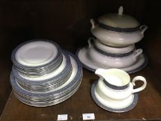 SECTION 38. A 29-piece Royal Doulton 'Sherbrooke' pattern part dinner service comprising tureens,